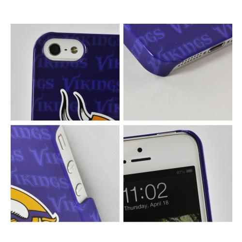 Made for Apple iPhone SE / 5 / 5S Hard Case, NFL Licensed [Minnesota Vikings]  Slim Protective Crystal Glossy Snap-on Hard Polycarbonate Plastic Case Cover by NFL
