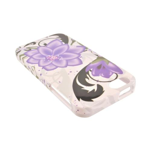 Made for Apple iPhone SE / 5 / 5S Hard Case,  [Purple Lily on White]  Slim Protective Crystal Glossy Snap-on Hard Polycarbonate Plastic Case Cover by Redshield
