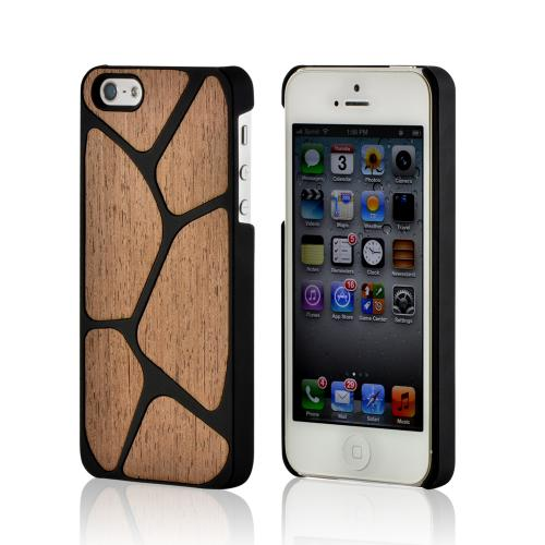 Made for Apple iPhone SE / 5 / 5S Hard Case,  [Black/ Tan Wood]  Slim Protective Crystal Glossy Snap-on Hard Polycarbonate Plastic Case Cover by Redshield