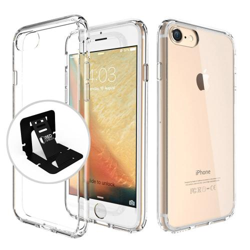 Made for Apple iPhone 8/7/6S/6 Hard Case, Slim Protective Crystal Glossy Snap-on Hard Polycarbonate Plastic Case Cover [Clear] with Travel Wallet Phone Stand by Redshield