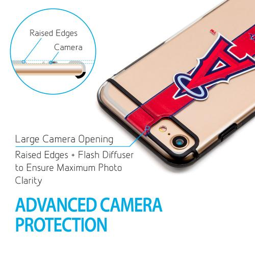 Made for Apple iPhone 8 / 7 / 6S / 6 Sports Case, [Los Angeles Angels] Hydroclear Ultra-Slim 3D UV Printed Textured Hard Back Case w/ TPU Border by MLB