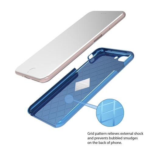 Made for Apple iPhone 8/7/6S/6 Plus Case, IRONGRAM [Premium Series] Super Slim Fit Thin, Shock Resistant PC Metallic Brushed Hard Case [Coral Blue] by Irongram