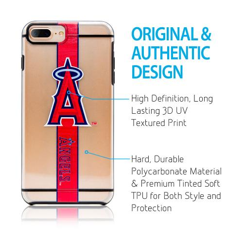 Made for Apple iPhone 8 Plus / 7 Plus / 6S Plus / 6 Plus Sports Case, [Los Angeles Angels] Hydroclear Ultra-Slim 3D UV Printed Textured Hard Back Case w/ TPU Border by MLB