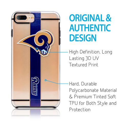 Apple iPhone 8 Plus / 7 Plus / 6S Plus / 6 Plus Sports Case, [Los Angeles Rams] Hydroclear Ultra-Slim 3D UV Printed Textured Hard Back Case w/ TPU Border