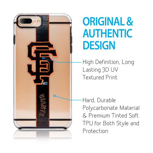 Made for Apple iPhone 8 Plus / 7 Plus / 6S Plus / 6 Plus Sports Case, [San Francisco Giants] Hydroclear Ultra-Slim 3D UV Printed Textured Hard Back Case w/ TPU Border by MLB