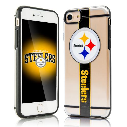 Made for Apple iPhone 8 / 7 / 6S / 6 Sports Case, [Pittsburgh Steelers] Hydroclear Ultra-Slim 3D UV Printed Textured Hard Back Case w/ TPU Border by NFL
