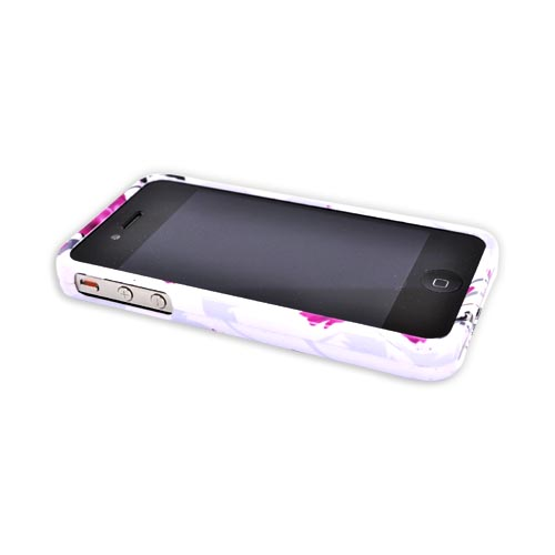 Apple Verizon/ AT&T iPhone 4, iPhone 4S Hard Case - Pink Flowers on White