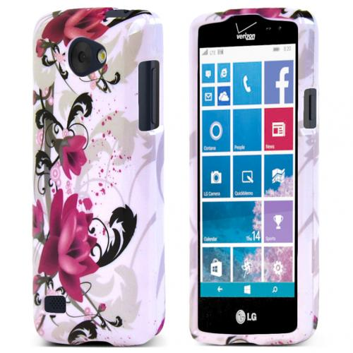 LG Lancet Case, [Pink Flowers On White] Slim & Protective Crystal Glossy Hard Plastic Case