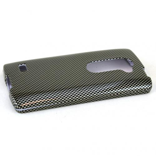LG Leon (T-Mobile, MetroPCS) Case, Carbon Fiber Design Slim Grip Rubberized Matte Snap-on Hard Polycarbonate Plastic Protective Cover