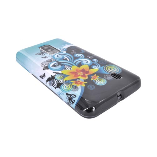 LG Spectrum Hard Case - Yellow Lily w/ Swirls on Turquoise/ Black