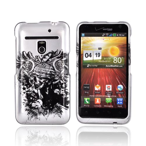 LG Revolution, LG Esteem Hard Case - Army Skull on Silver