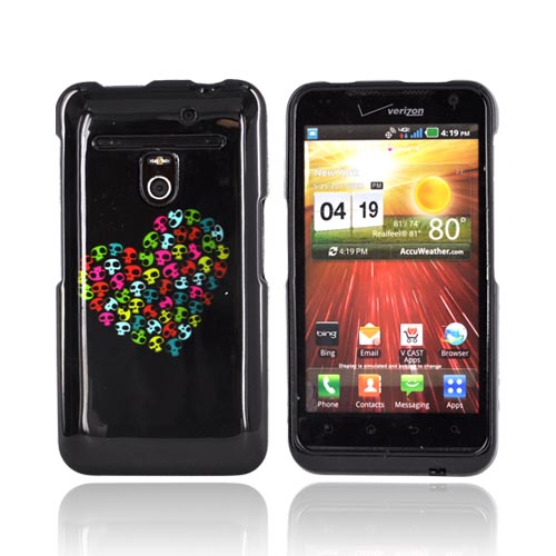 LG Revolution, LG Esteem Hard Case - Rainbow Skulls Heart on Black