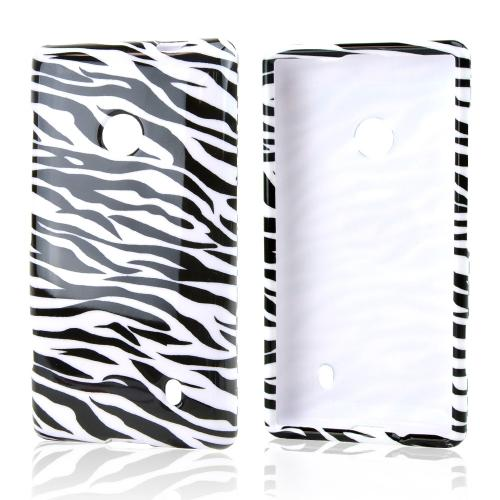 Black Zebra on Silver Hard Case for Nokia Lumia 521