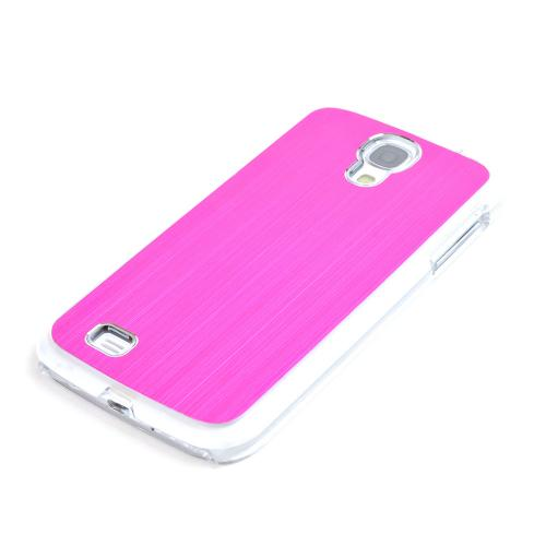 Hot Pink Aluminum Back on Clear Hard Case for Samsung Galaxy S4