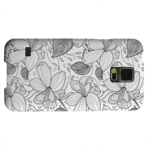 Geeks Designer Line (GDL) Samsung Galaxy S5 Matte Hard Back Cover - Black on White Orchid Lines