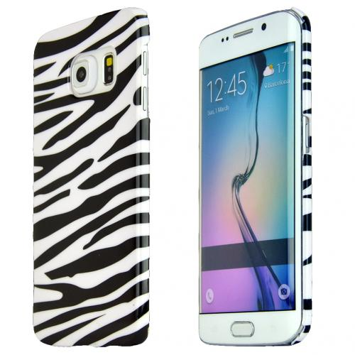Samsung Galaxy S6 Edge Case, [White Zebra] Slim & Protective Crystal Glossy Snap-on Hard Polycarbonate Plastic Case Cover