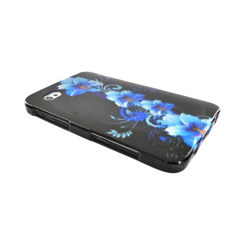 Samsung Galaxy Tab P1000 Hard Case - Blue Flower on Black