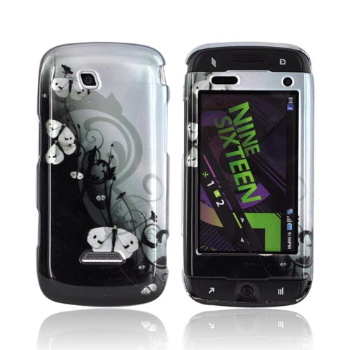 Samsung Sidekick 4G Hard Case - White Butterflies on Teal/ Black