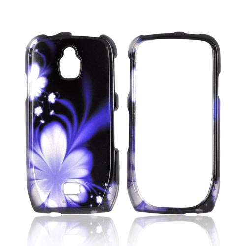 Samsung Exhibit T759 Hard Case - Purple Flower on Black