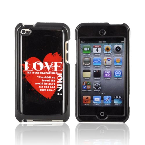 Apple iPod Touch 4 Passion Series Hard Case - Red Love John 3:16 on Black