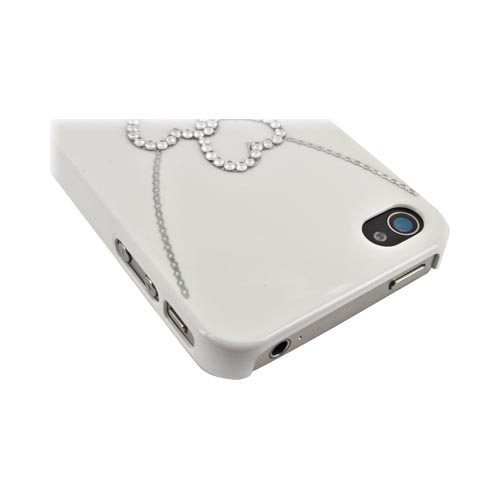 Premium AT&T/ Verizon Apple iPhone 4, iPhone 4S Hard Case w/ Bling - White/ Silver Double Heart Necklace
