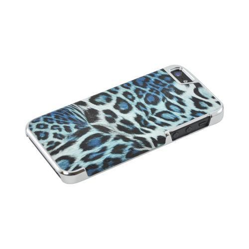 Made for Apple iPhone SE / 5 / 5S Bling Case,  [Black/ Blue Leopard Print w/ Chrome Accents]  Faux Leather Case Cover by Redshield