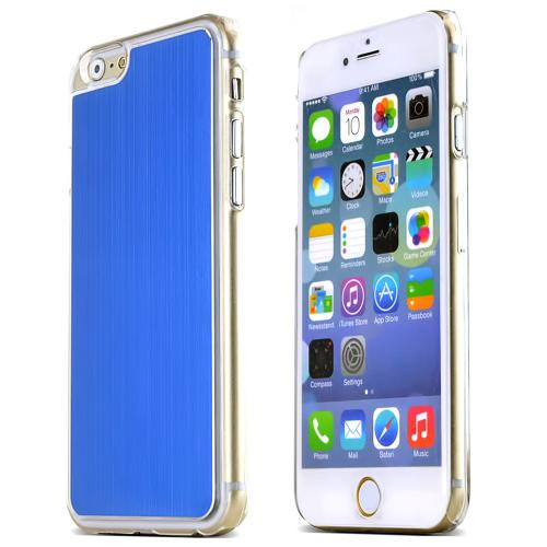 Apple iPhone 6/ 6S Case,  [Blue]  Slim & Protective Polycarbonate Plastic Back with Aluminum Metal Border Case Cover