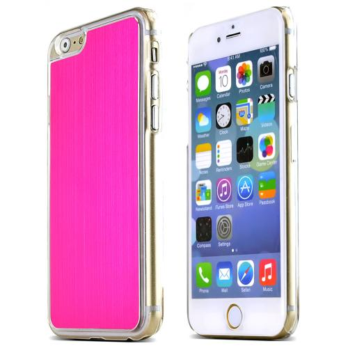Apple iPhone 6/ 6S Case,  [Hot Pink]  Slim & Protective Polycarbonate Plastic Back with Aluminum Metal Border Case Cover