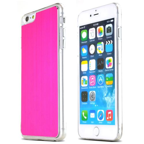 Made for Apple iPhone 6 PLUS/6S PLUS (5.5 inch) Hot Pink Polycarbonate Plastic Back with Aluminum Metal Border Case by Redshield