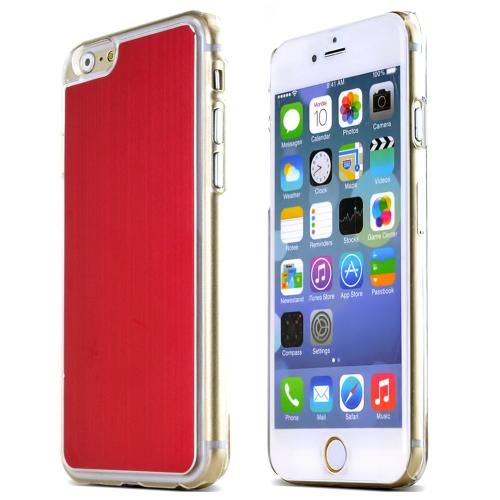 Apple iPhone 6/ 6S Case,  [Red]  Slim & Protective Polycarbonate Plastic Back with Aluminum Metal Border Case Cover