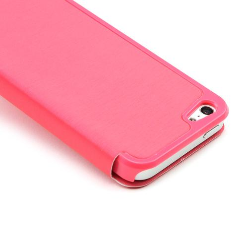 Made for Apple iPhone SE / 5 / 5S Wallet Case,  [Hot Pink Melon]  Diary Flip Cover Hard Case w/ ID Slot Satin Cover