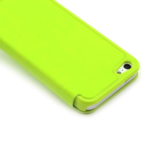 Made for Apple iPhone SE / 5 / 5S Wallet Case,  [Lime Green]  Diary Flip Cover Hard Case w/ ID Slot Satin Cover