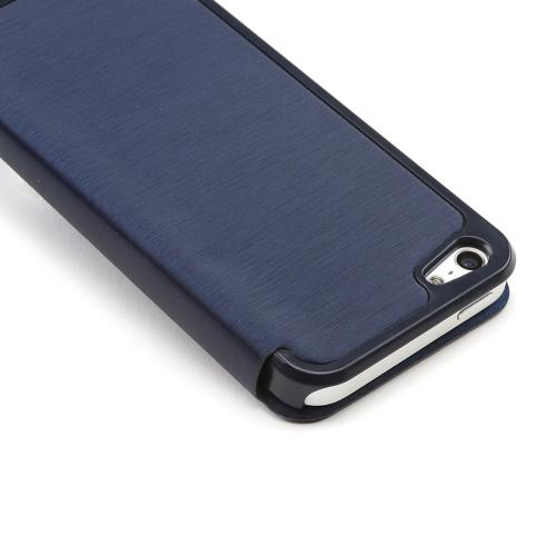 Apple iPhone SE / 5 / 5S Wallet Case,  [Navy Blue]  Diary Flip Cover Hard Case w/ ID Slot & Satin Cover