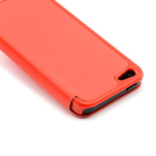 Made for Apple iPhone SE / 5 / 5S Wallet Case,  [Orange]  Diary Flip Cover Hard Case w/ ID Slot Satin Cover