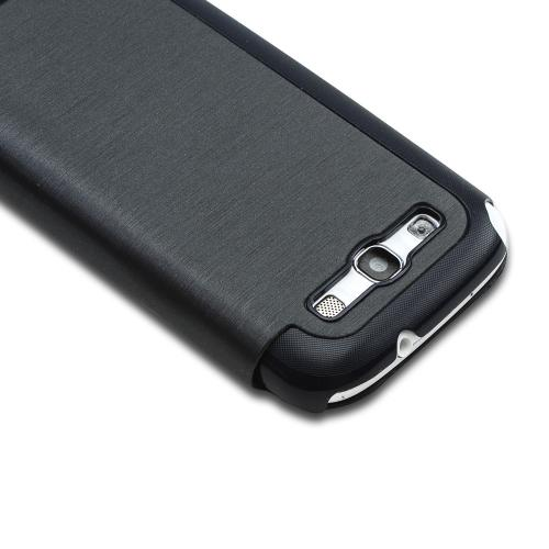 Dark Gray Diary Flip Cover Hard Case w/ ID Slot & Satin Cover for Samsung Galaxy S3