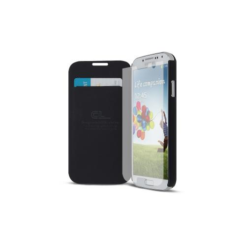 Gray Exclusive AccessoryGeeks Flip Cover Case w/ ID Slot, Satin Cover & Free Screen Protector for Samsung Galaxy S4