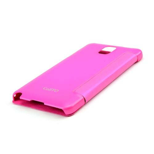 Galaxy Note 3 Case, [Hot Pink] Flip Cover Case with ID Slots for Samsung Galaxy Note 3