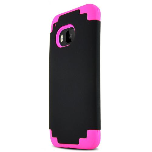 HTC One M9 Case, [Hot Pink/ Black]  Dual Material Rubberized & Glossy Hard Plastic Protective Hybrid Case