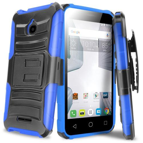 Alcatel Dawn / Acquire / Streak Holster Case, REDshield [Blue] Supreme Protection Hard Plastic on Silicone Skin Dual Layer Hybrid Case with Travel Wallet Phone Stand