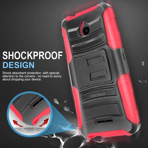 Alcatel Dawn / Acquire / Streak Holster Case, REDshield [Red] Supreme Protection Hard Plastic on Silicone Skin Dual Layer Hybrid Case with Travel Wallet Phone Stand