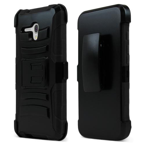 Alcatel OneTouch Fierce XL Holster Case, [Black] Supreme Protection Plastic on Silicone Dual Layer Hybrid Case