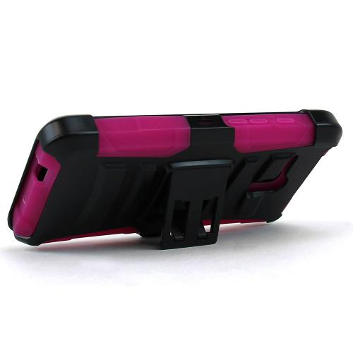 Alcatel OneTouch Fierce XL Holster Case, [Hot Pink] Supreme Protection Plastic on Silicone Dual Layer Hybrid Case