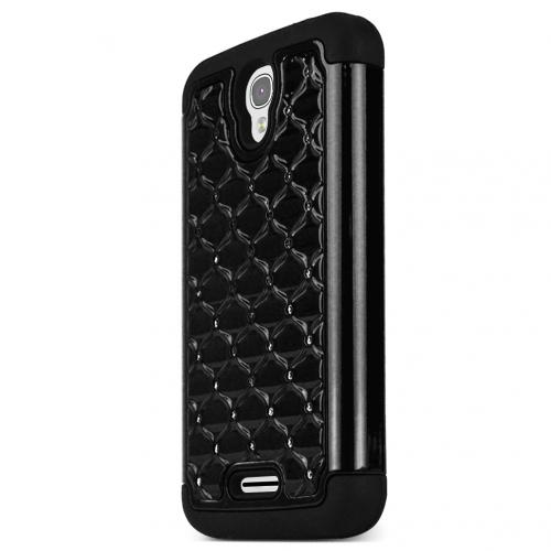 Alcatel OneTouch POP Astro Case, STANDARD BLACK Bling Gems Protective Hard Case Cover