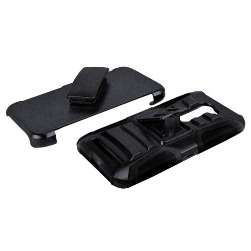 Asus Zenfone 2E Holster Case, [Black] Supreme Protection Plastic on Silicone Dual Layer Hybrid Case