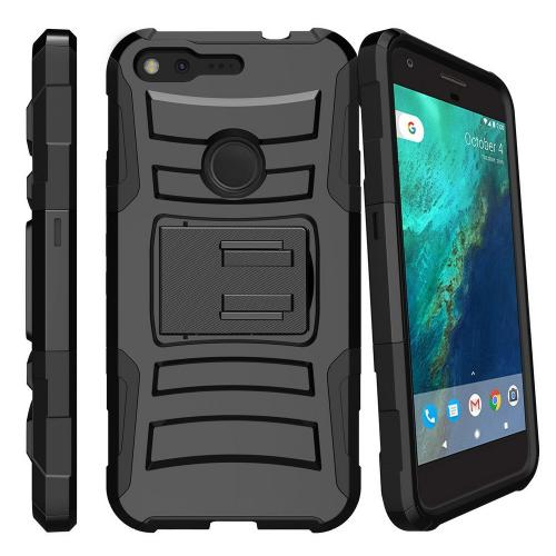 [Google Pixel] Case, REDshield [Black] Supreme Protection Hard Plastic on Silicone Skin Dual Layer Hybrid Case with Travel Wallet Phone Stand