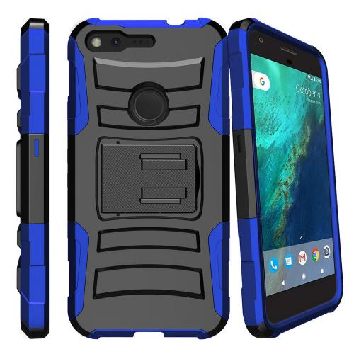 [Google Pixel] Case, REDshield [Blue] Supreme Protection Hard Plastic on Silicone Skin Dual Layer Hybrid Case with Travel Wallet Phone Stand