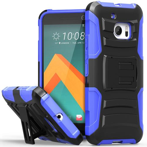 HTC 10 Holster Case, REDshield [Blue] Supreme Protection Hard Plastic on Silicone Skin Dual Layer Hybrid Case with Travel Wallet Phone Stand