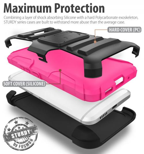 HTC 10 Holster Case, REDshield [Hot Pink] Supreme Protection Hard Plastic on Silicone Skin Dual Layer Hybrid Case with Travel Wallet Phone Stand