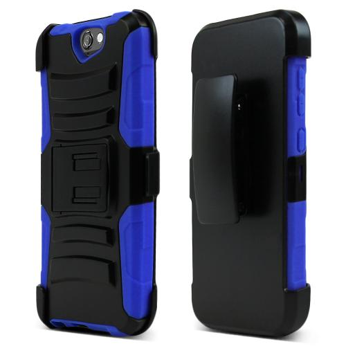 HTC One A9 Holster Case, [Blue] Supreme Protection Plastic on Silicone Dual Layer Hybrid Case