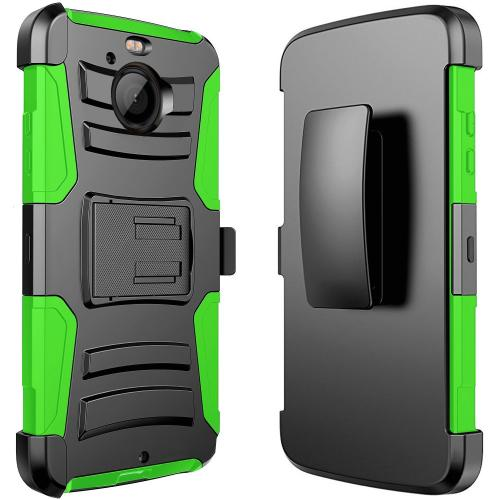 HTC Bolt Case, REDshield [GREEN] Dual Layer Holster w/ Kickstand & Belt Clip with Travel Wallet Phone Stand